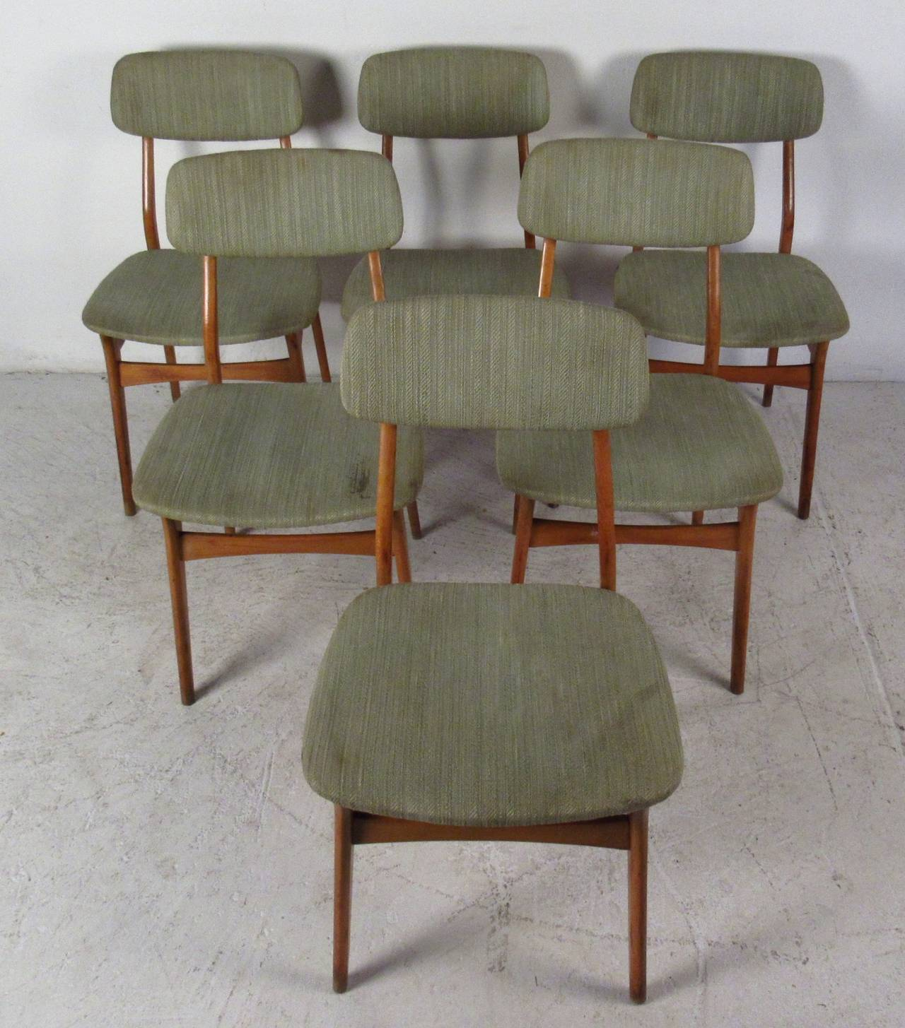 Danish Modern Dining Chairs For Sale Set Of Six Mid Century Upholstered Teak Dining Chairs