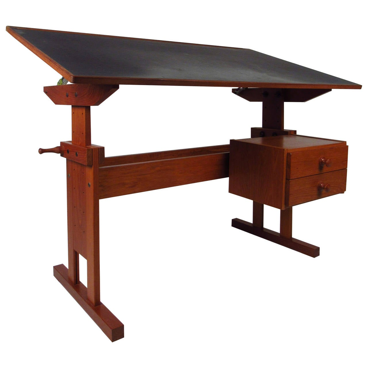 Adjustable Height Drafting Table Mid Century Danish Black Top Drafting Table