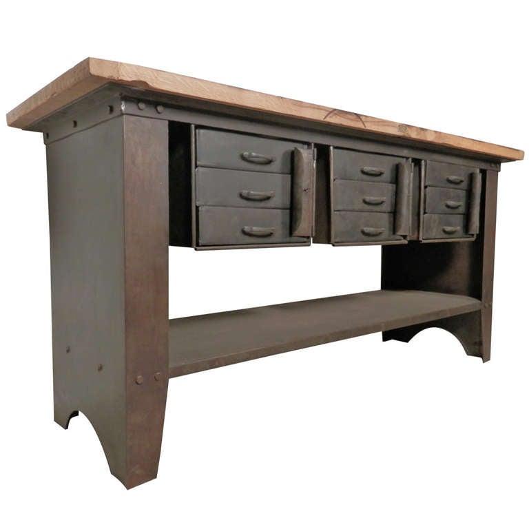 Machine Age Work Table w/ Lockable Storage at 1stdibs