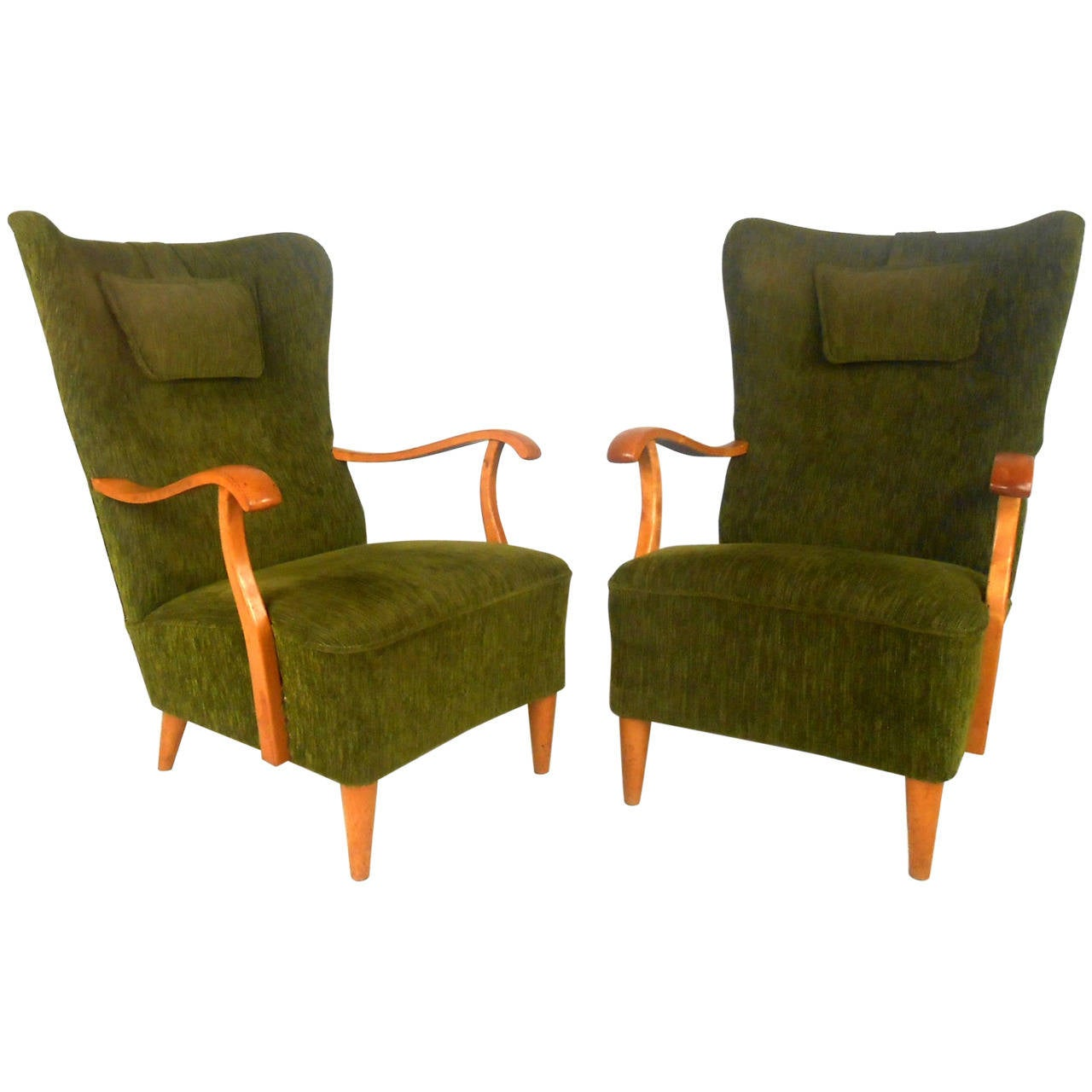 Unique Armchairs Pair Of Unique Mid Century Modern High Back Lounge Chairs