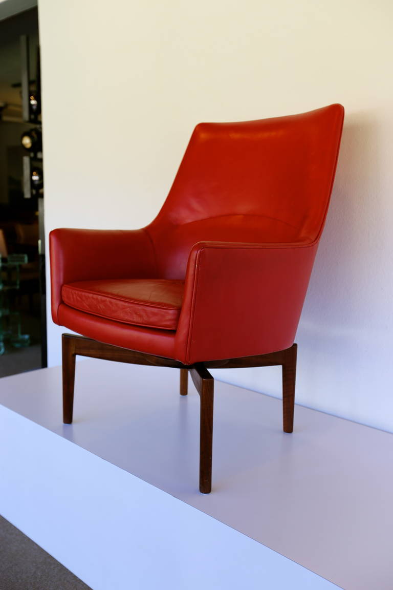 High Back Leather Swivel Lounge Chair By Jens Risom For - Leather High Back Lounge Chair
