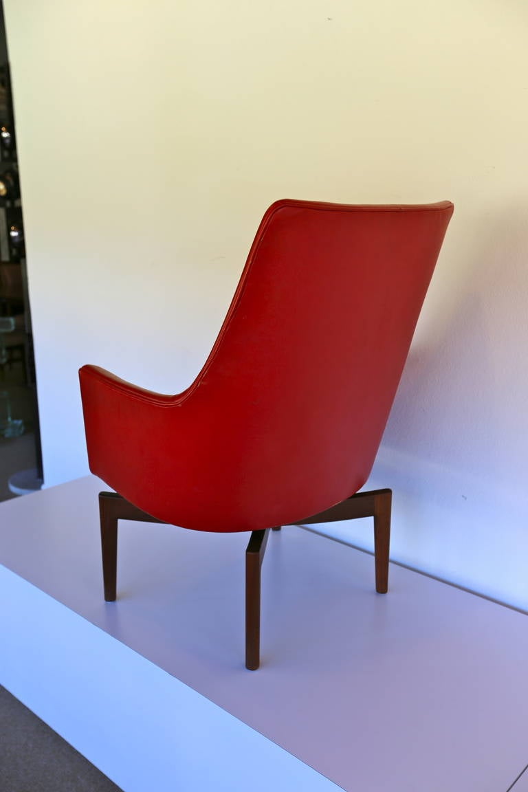 High Back Leather Swivel Lounge Chair By Jens Risom At 1stdibs - Leather High Back Lounge Chair