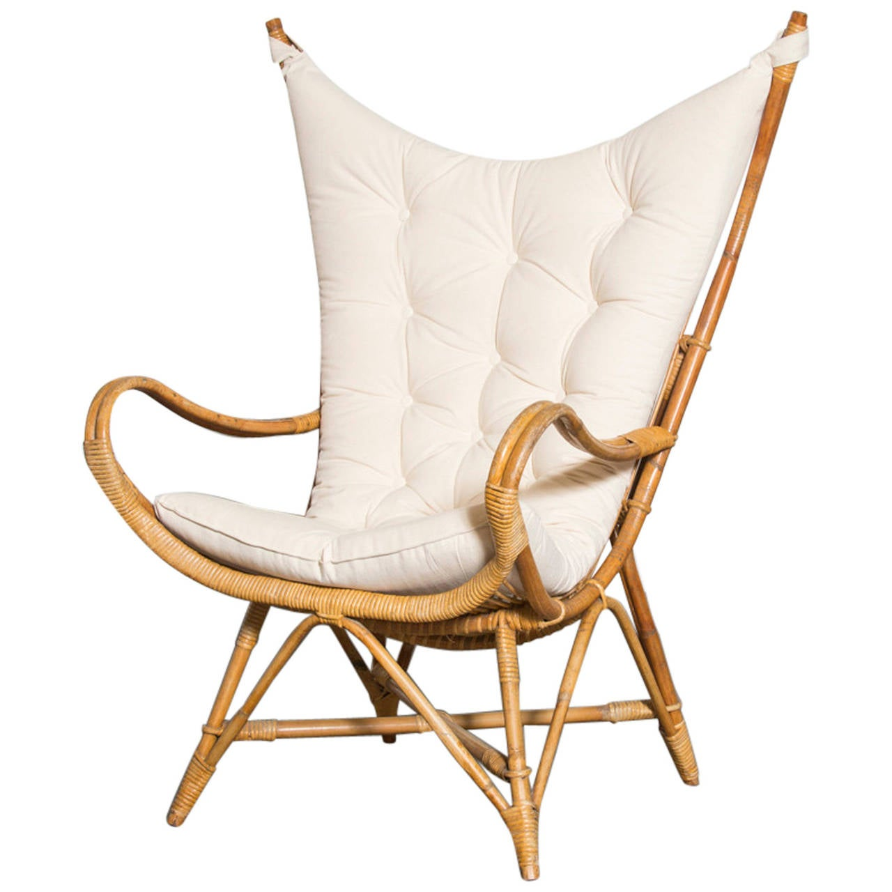 Dramatic Wingback Bamboo Lounge Chair At 1stdibs