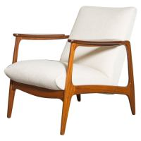Mid-Century Teak Upholstered Lounge Chair at 1stdibs