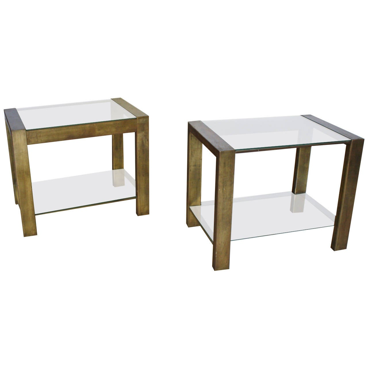 Metal Glass End Tables Custom Vintage Bronzed Metal And Glass End Tables