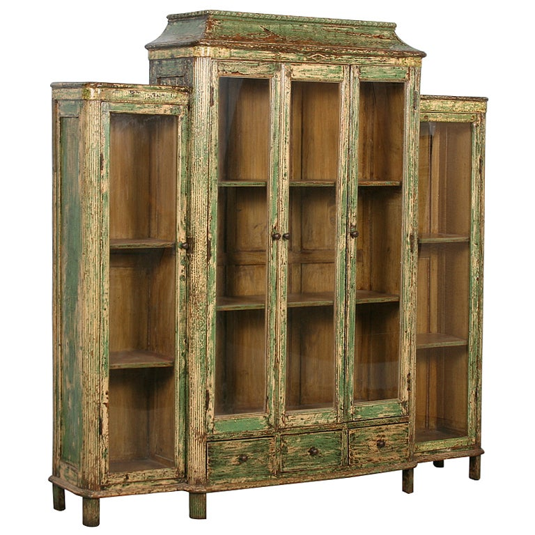 Antique Green Bookcase Display Cabinet With Glass Doors