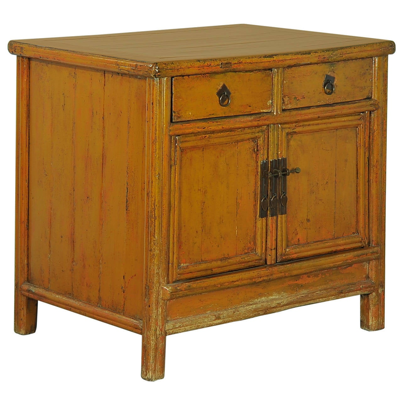 Asia Sideboard Antique Chinese Lacquered Yellow Orange Sideboard Circa