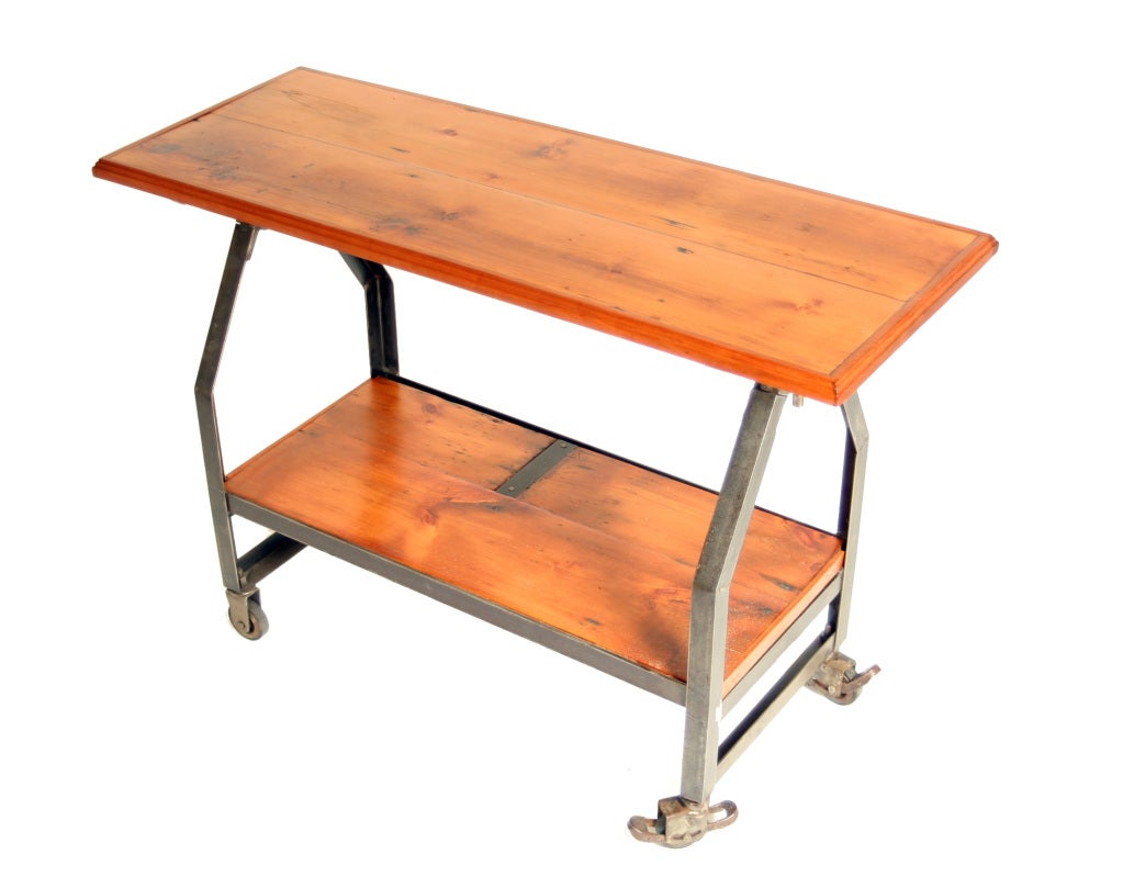 Kitchen Island With Locking Casters Industrial Two-tiered Console On Locking Casters At 1stdibs