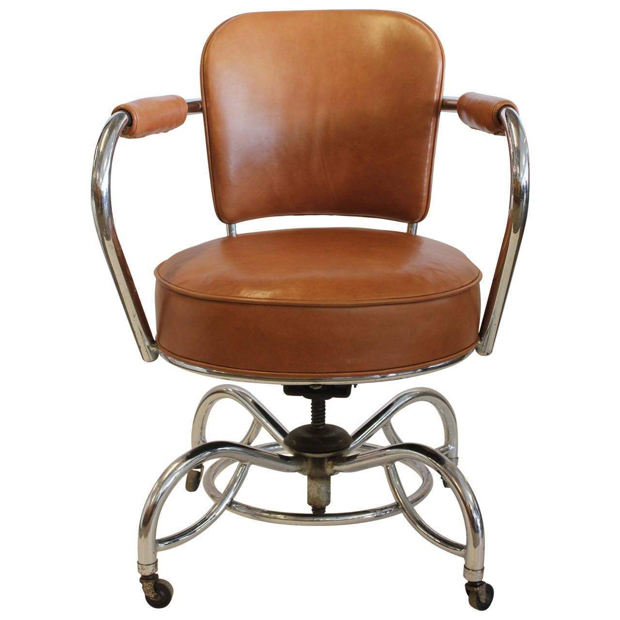 Stylish Chairs Stylish Art Deco Leather And Chrome Desk Chair At 1stdibs