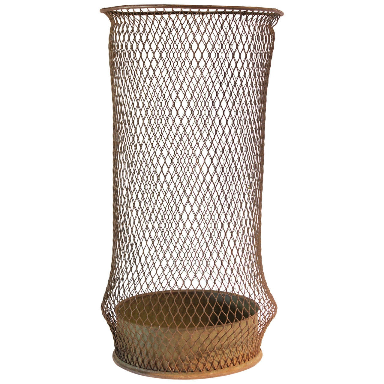Decorative Metal Waste Baskets Early 20thy Century Tall American Industrial Waste Basket