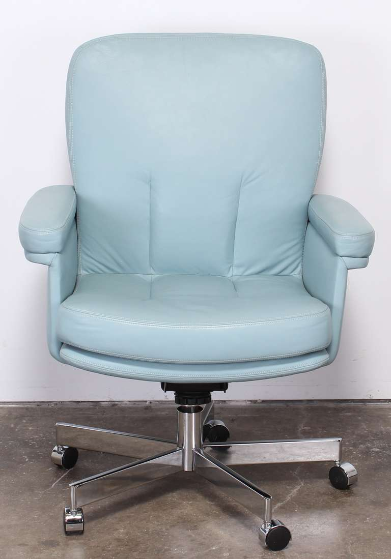 Mart Stam Pace Style Blue Leather And Chrome Executive Chair, 1980