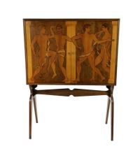 A Fine Italian Marquetry Cabinet Depicting Classical Male ...