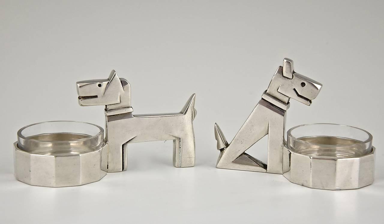 Art Deco Silvered Salt Cellars Fox Terriers By Gallia