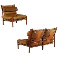 Living Room Set by Arne Norell, Model 'Inka' with Cognac ...