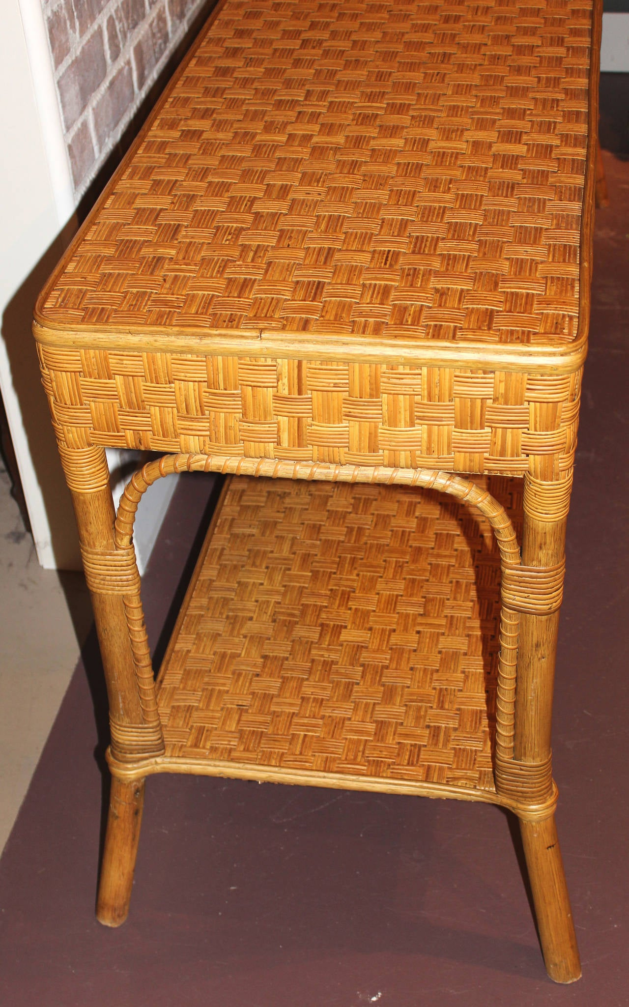 Open Weave Rattan Sofa Mid Century Wicker Console Or Sofa Table At 1stdibs