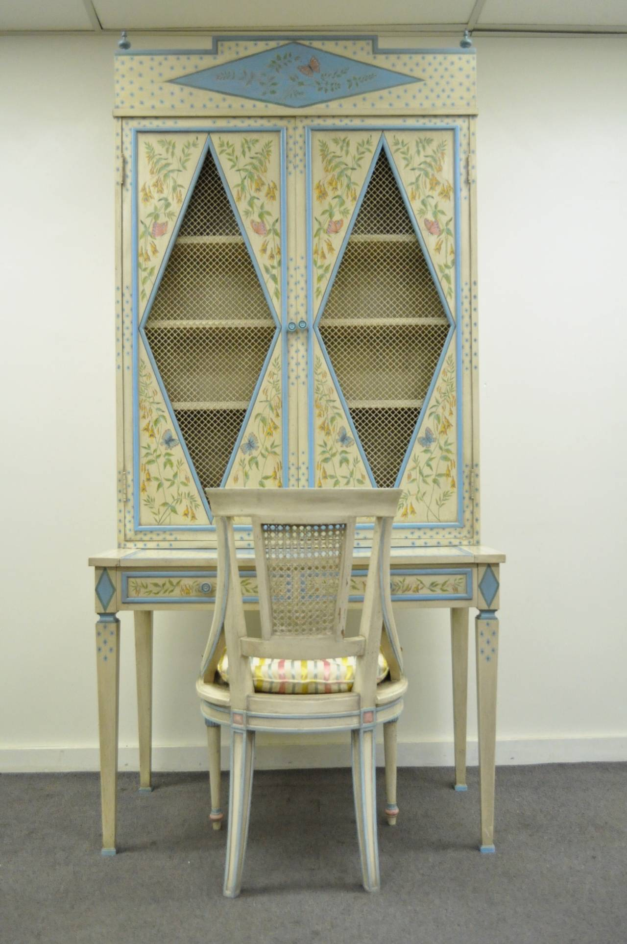 Vintage Custom Painted Italian French Regency Style Tall Secretary Desk And Chair At 1stdibs