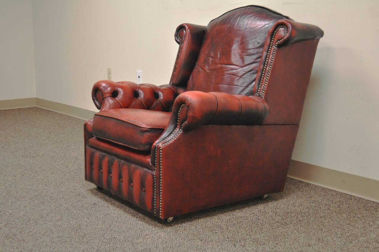 Striking Rolled Arm Tufted Chesterfield Style Lounge Chair