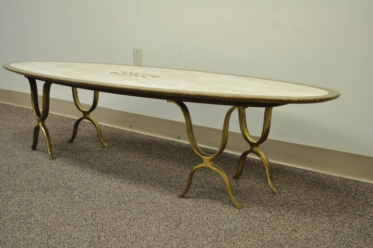 Surfboard Tables For Sale Sculptural Italian Hollywood Regency Travertine And Brass