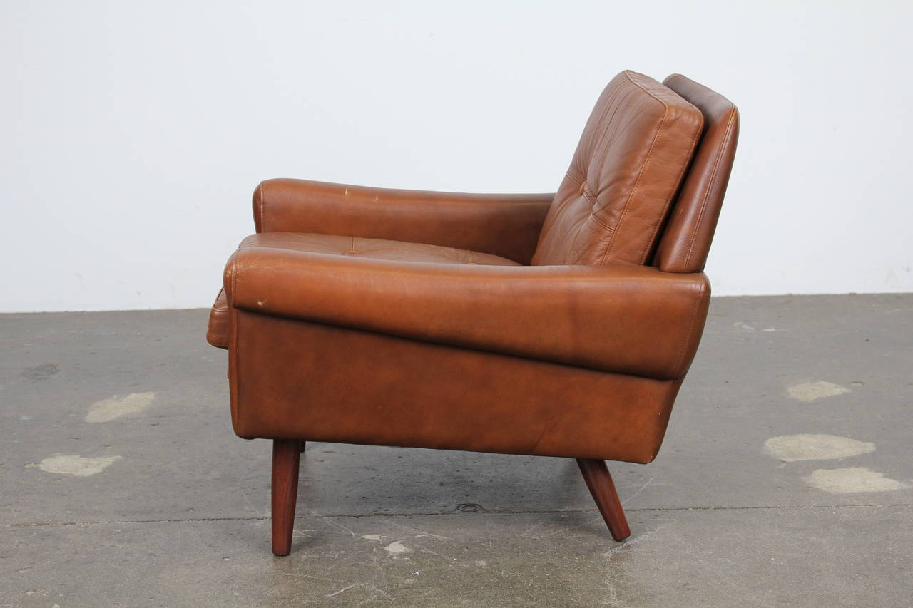 Danish Modern Brown Leather Chair By Skipper Mobler At 1stdibs