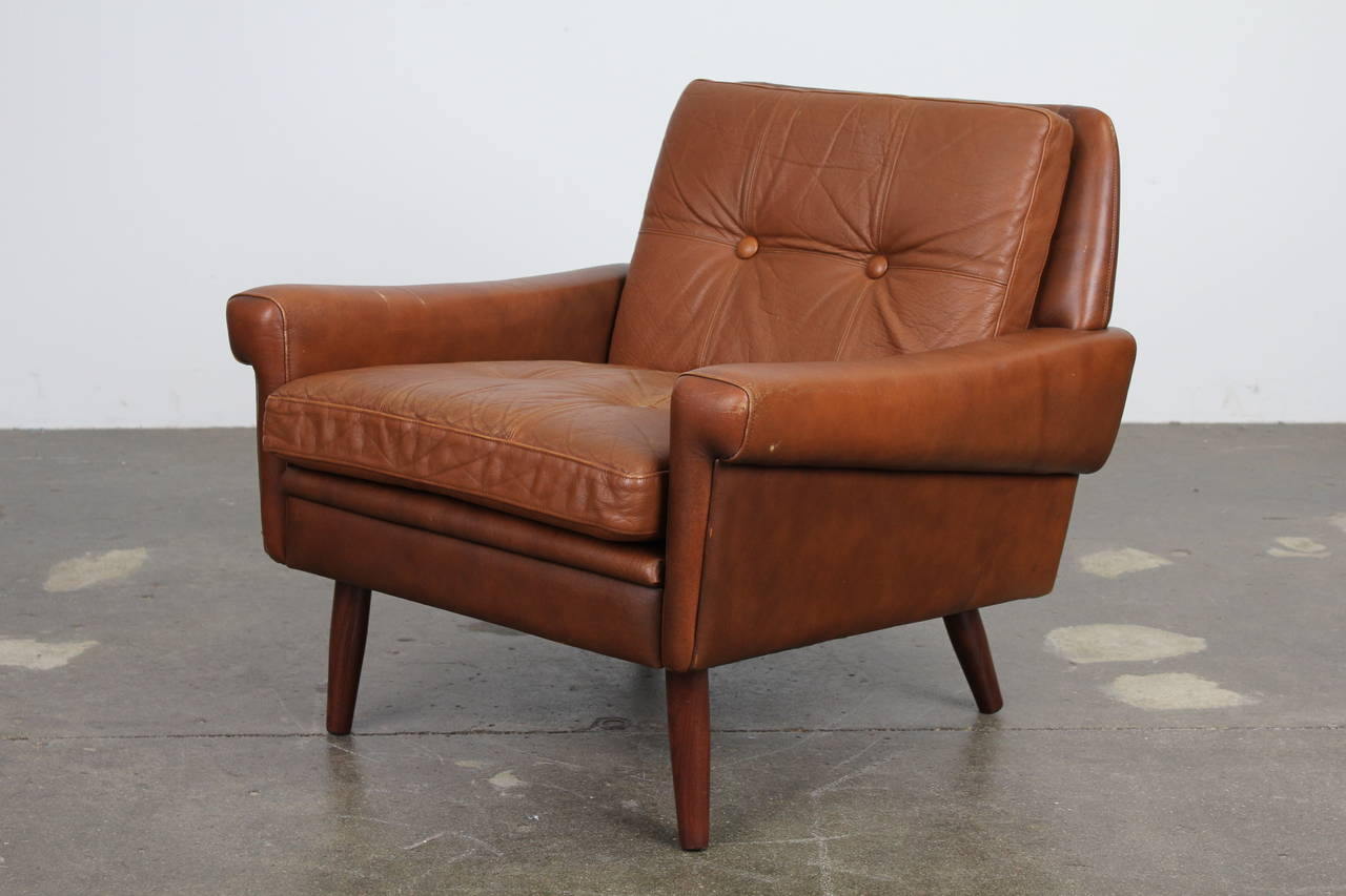 Danish Modern Leather Chair Danish Modern Brown Leather Chair By Skipper Mobler At 1stdibs
