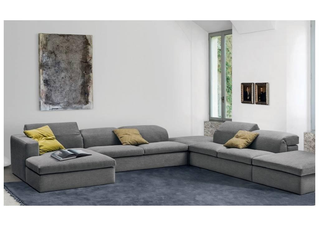 Italian Contemporary Sofas Italian Modern Sectional Fabric Sofa With Adjustable Back Four Large Pieces