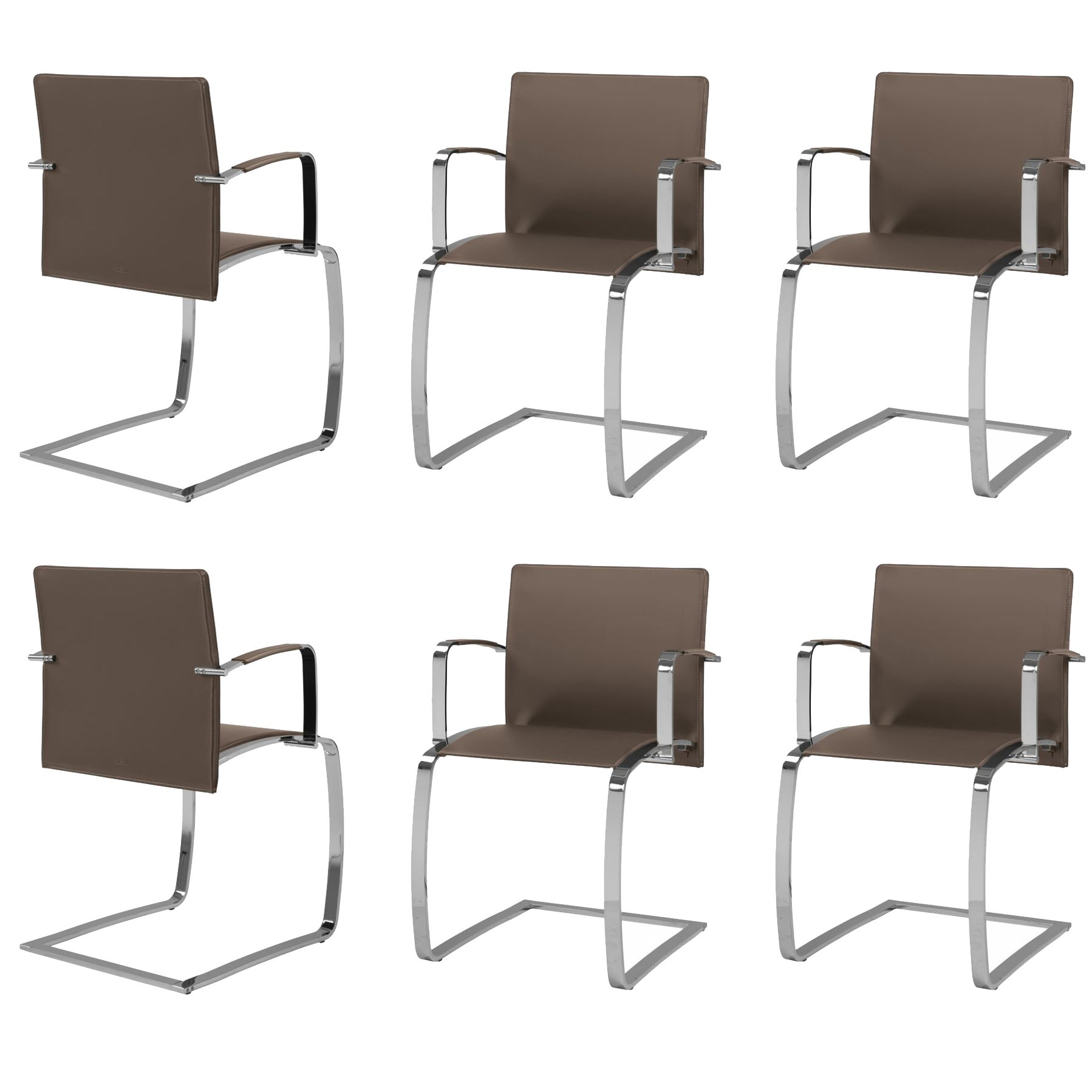 Leather Dining Room Chairs Set Of Six Italian Leather Dining Room Chairs With Arms Chrome Structure