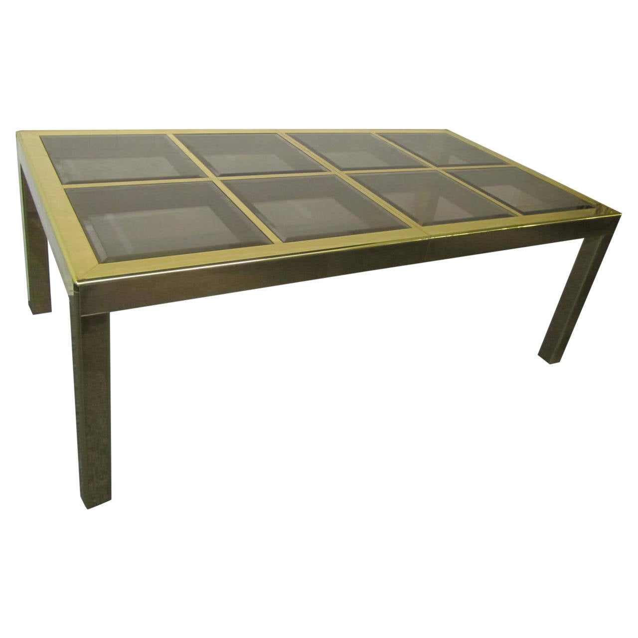 Mastercraft brass dining table with bevelled glass insets regency modern 1