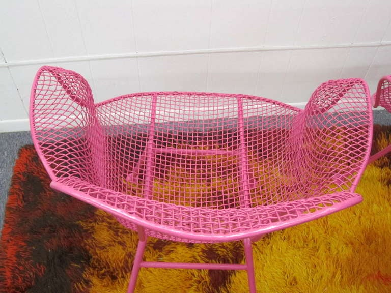 Fun Pair Of Pink Woodard Mesh Sculptra Patio Chairs Mid