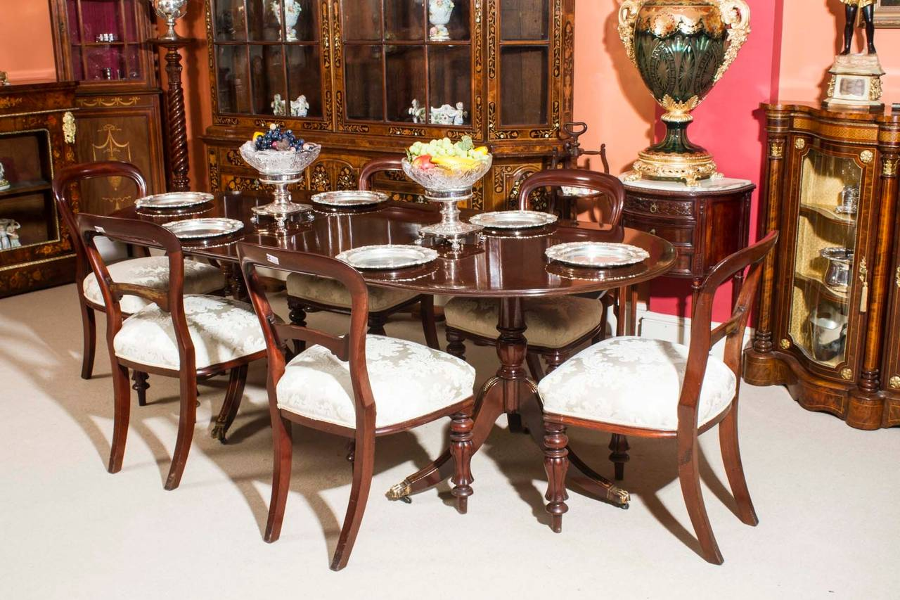 Vintage Regency Style Dining Table And Six Antique Chairs