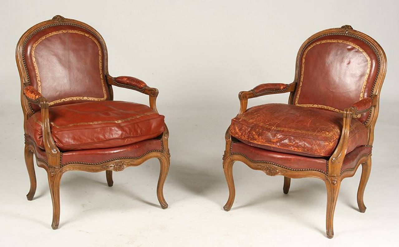 Pair Of Louis Xv Style Walnut Arm Chairs By Gouffe Paris