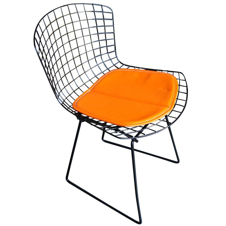 Vintage Harry Bertoia For Knoll Black Side Chair For Sale