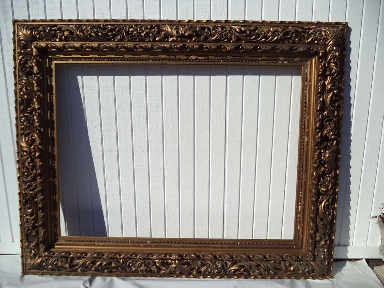 Beveled Mirror Wood Frame Museum Quality 19th Century Hand Carved And Gilded Frame