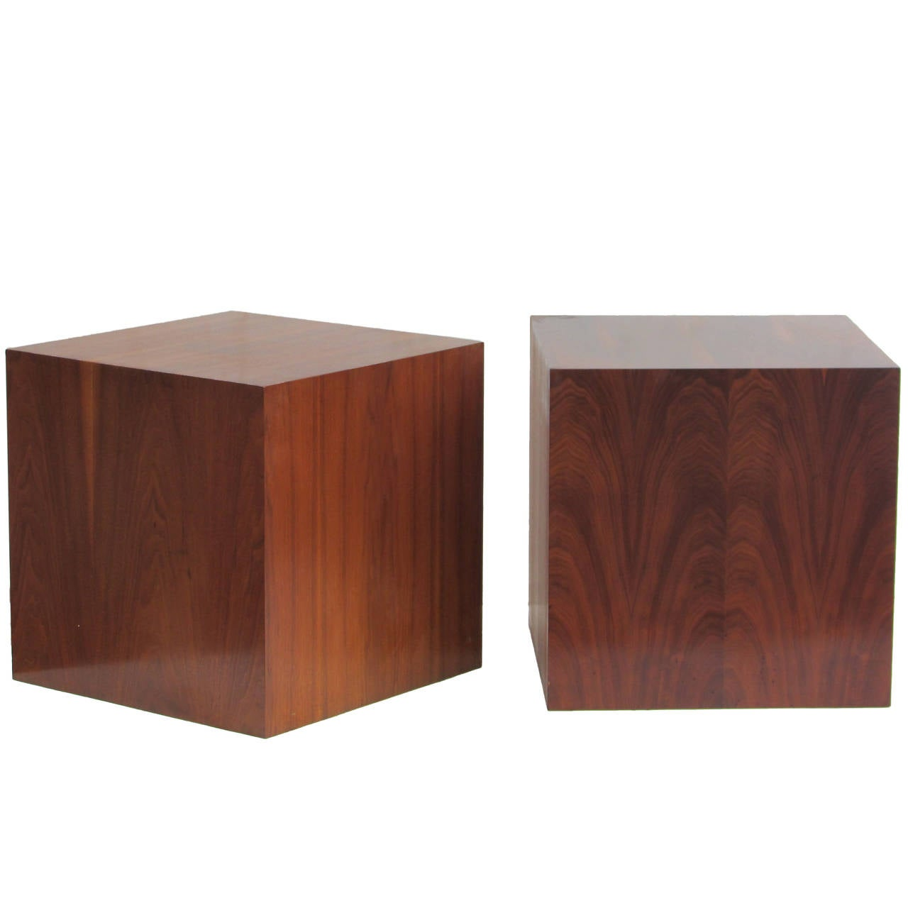 Wood Cube End Table Pair Of Modernist Wood Cube Tables At 1stdibs