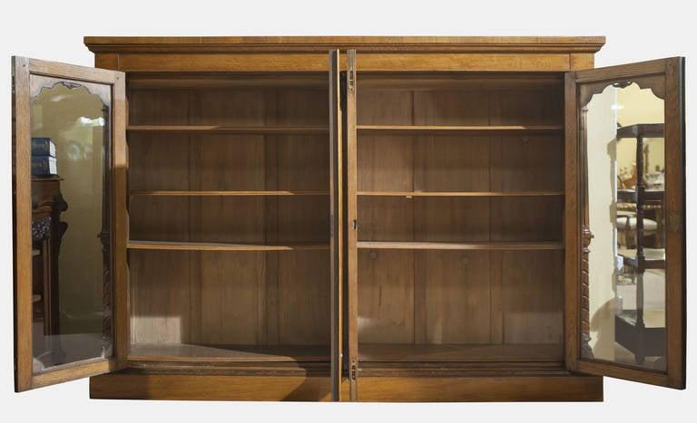 Golden Oak Four Door Bookcase At 1stdibs