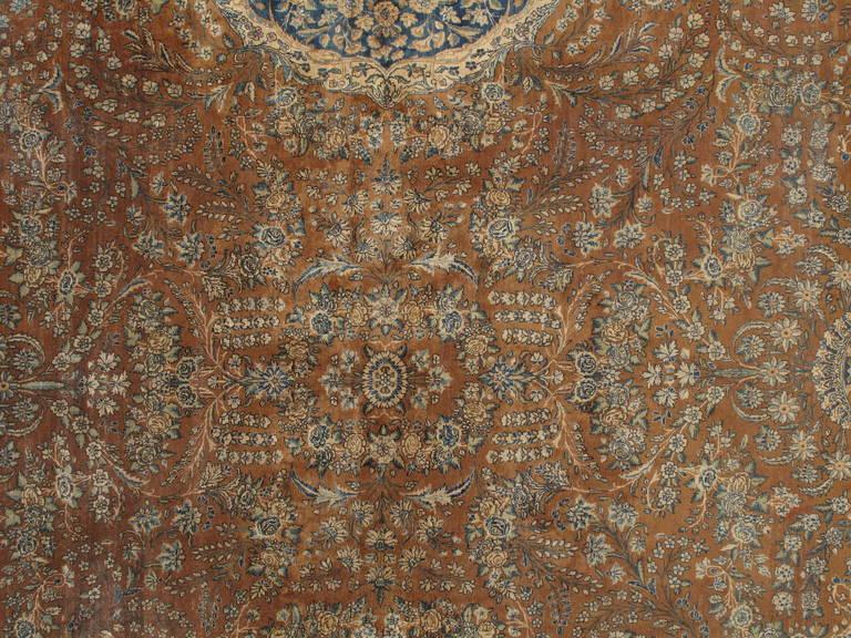 Antique Persian Lavar Kerman Carpet Handmade Rug Brown