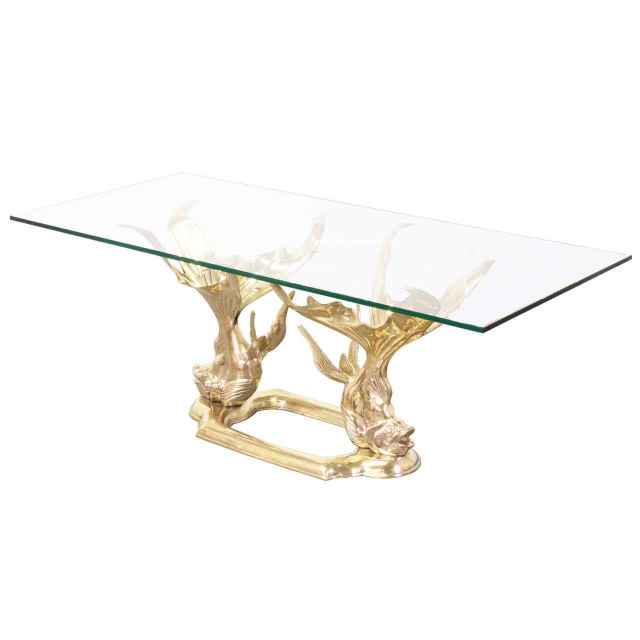Messing Couchtisch Mit Glasplatte Vintage Brass Goldfish Coffee Table With Glass Top At 1stdibs