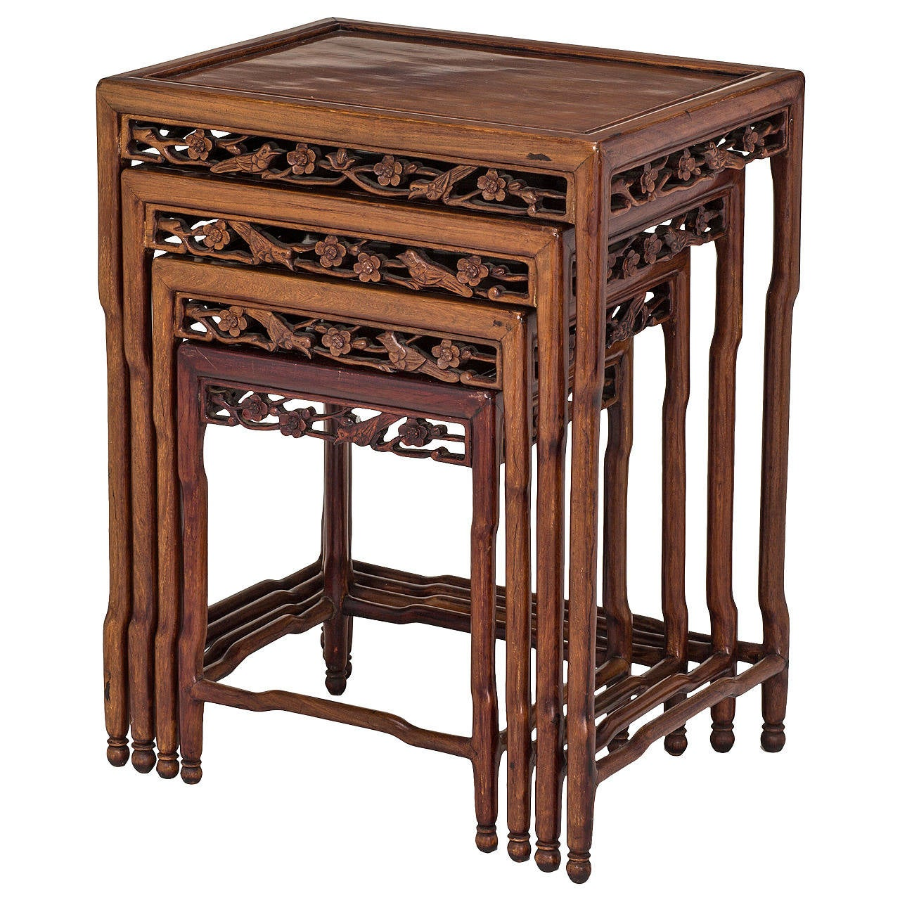 Asian Nesting Tables Rosewood Chinese Nesting Tables Set Of Four At 1stdibs