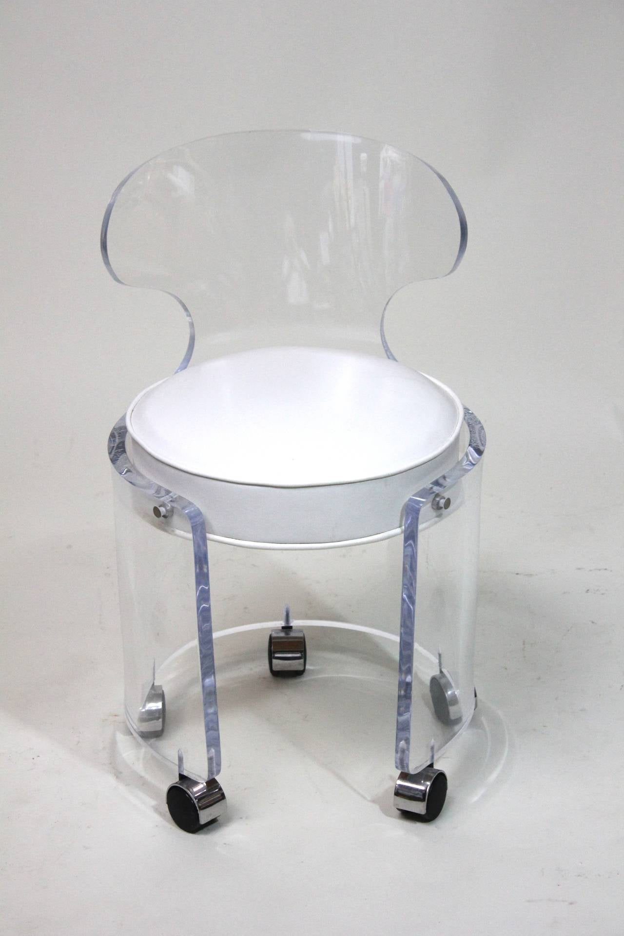Comfortable Vanity Chair 1970 Lucite Vanity Chair Glam In White Leather Charles