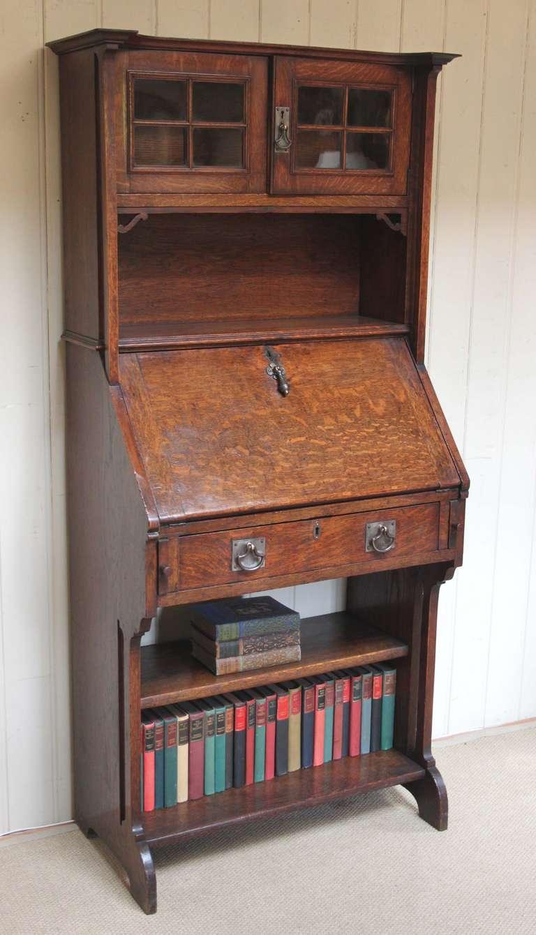 Solid oak arts and crafts bureau bookcase 2