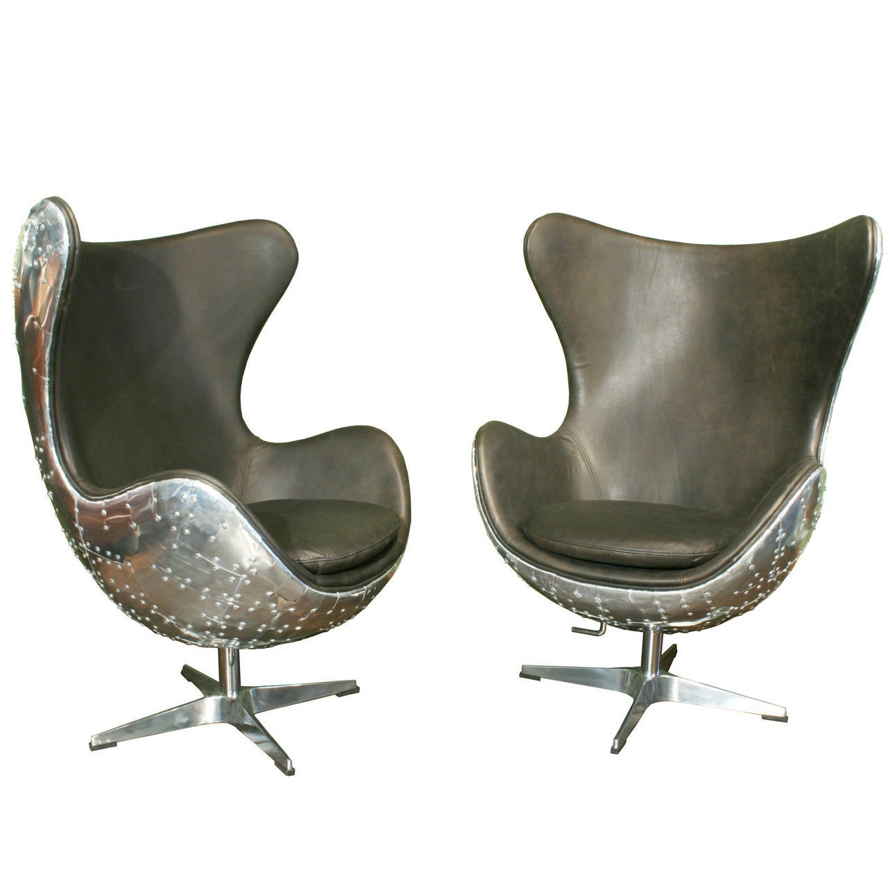 Sofa Ottoman Egg Chairs, Pair Of Aviator Armchairs At 1stdibs