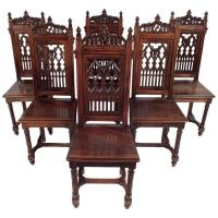 Antique 1900's Gothic Style Dining Chairs at 1stdibs