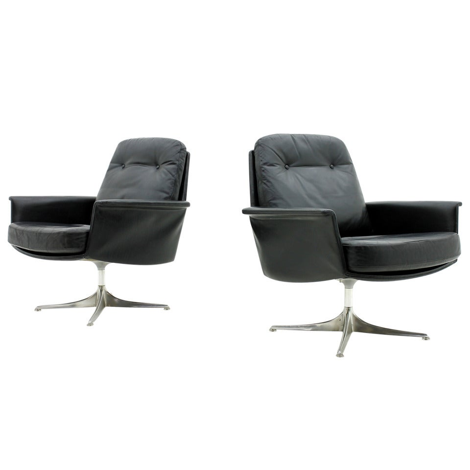 Horst Brüning Pair Of Leather Lounge Chairs By Horst Bruening, 1966, Cor