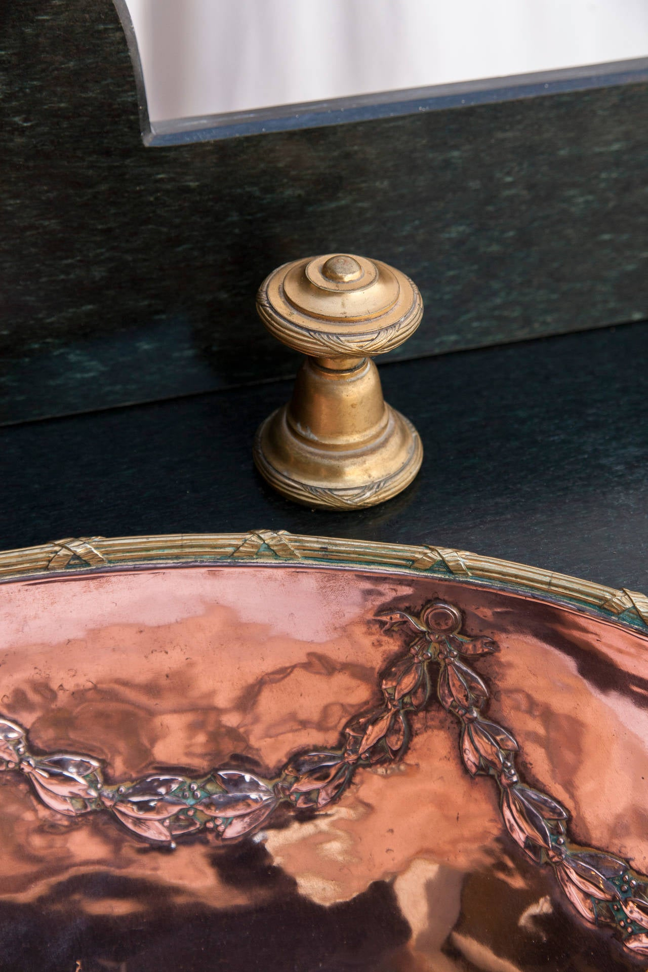Antique French Louis Xvi Style Copper And Brass Sink With
