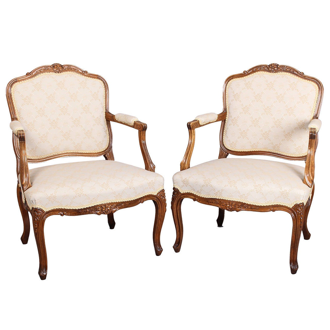 Danish Furniture St Louis Pair Of Danish Beech Fauteuils In The Louis Xv Manner At