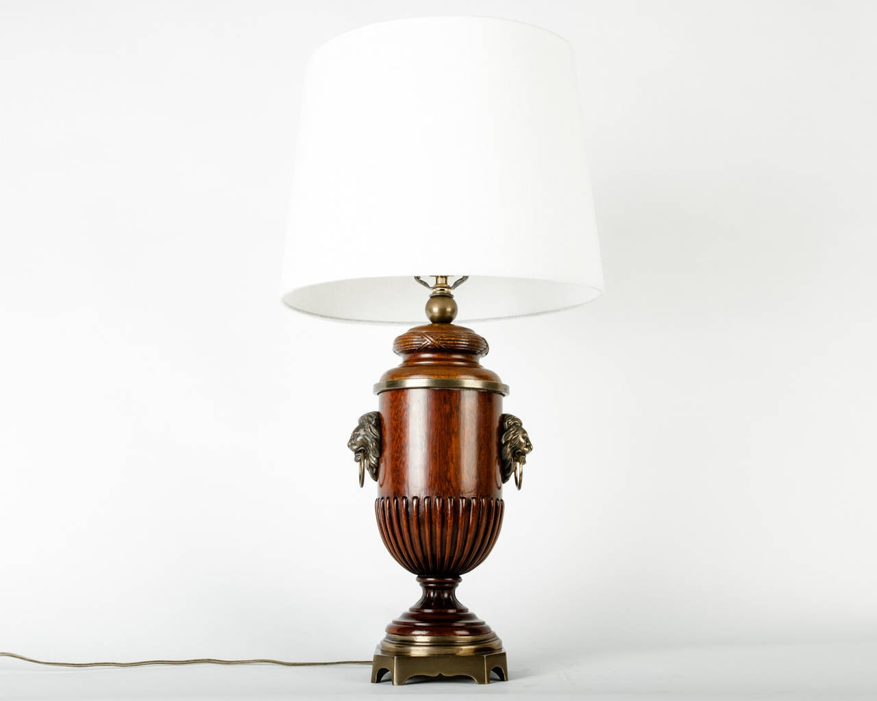 Real Wood Lamps Vintage Solid Wood Lamp With Brass Base At 1stdibs