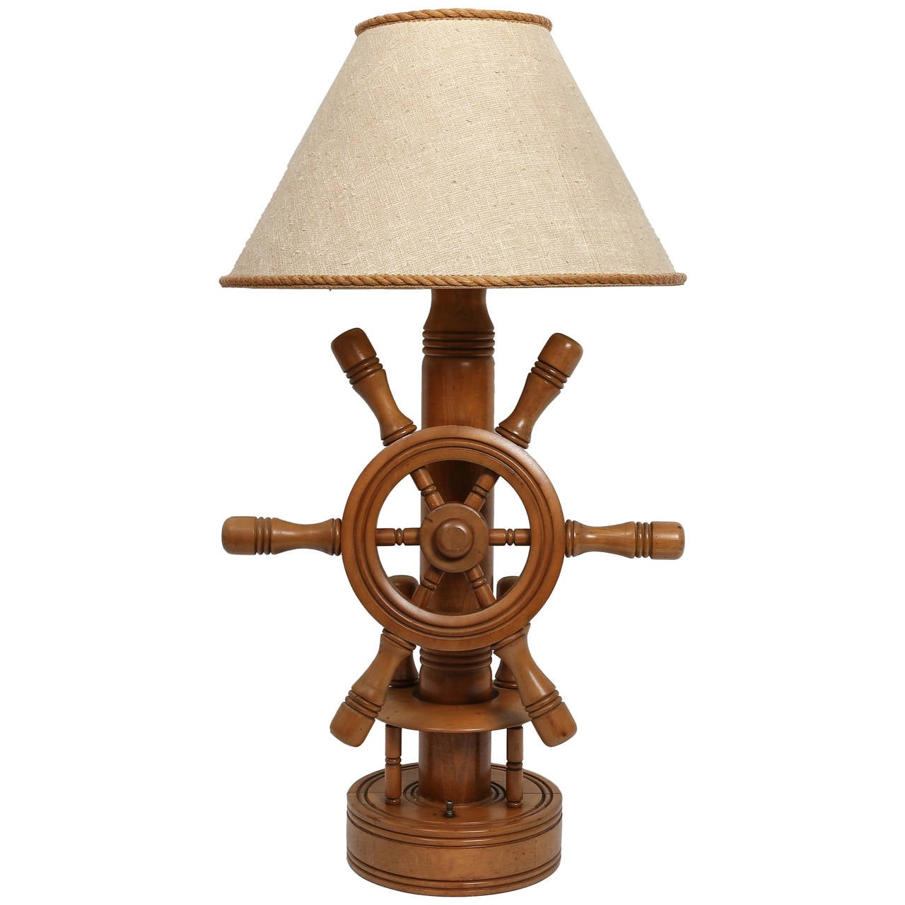 Lighthouse Touch Lamp Wood Ship Wheel Nautical Lamp At 1stdibs