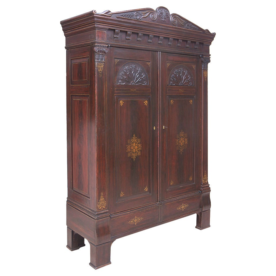 Armoire Bois North German Empire Sun Armoire In Original Faux Bois And Stenciled Finish 1815