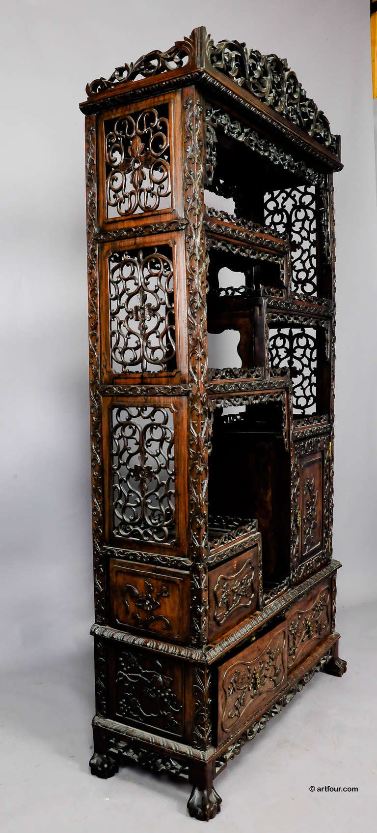 Large Carved Chinese Bookcase Ca 1900 At 1stdibs