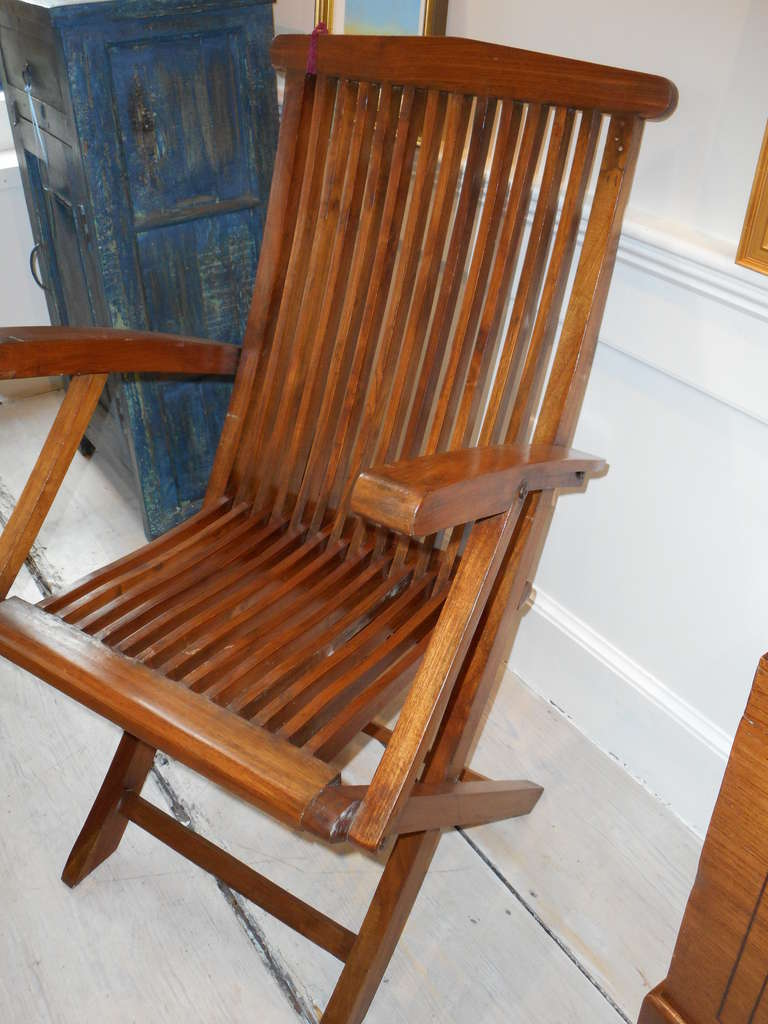 Four Teak Folding Deck Chairs From Mid Century Cruise Ship