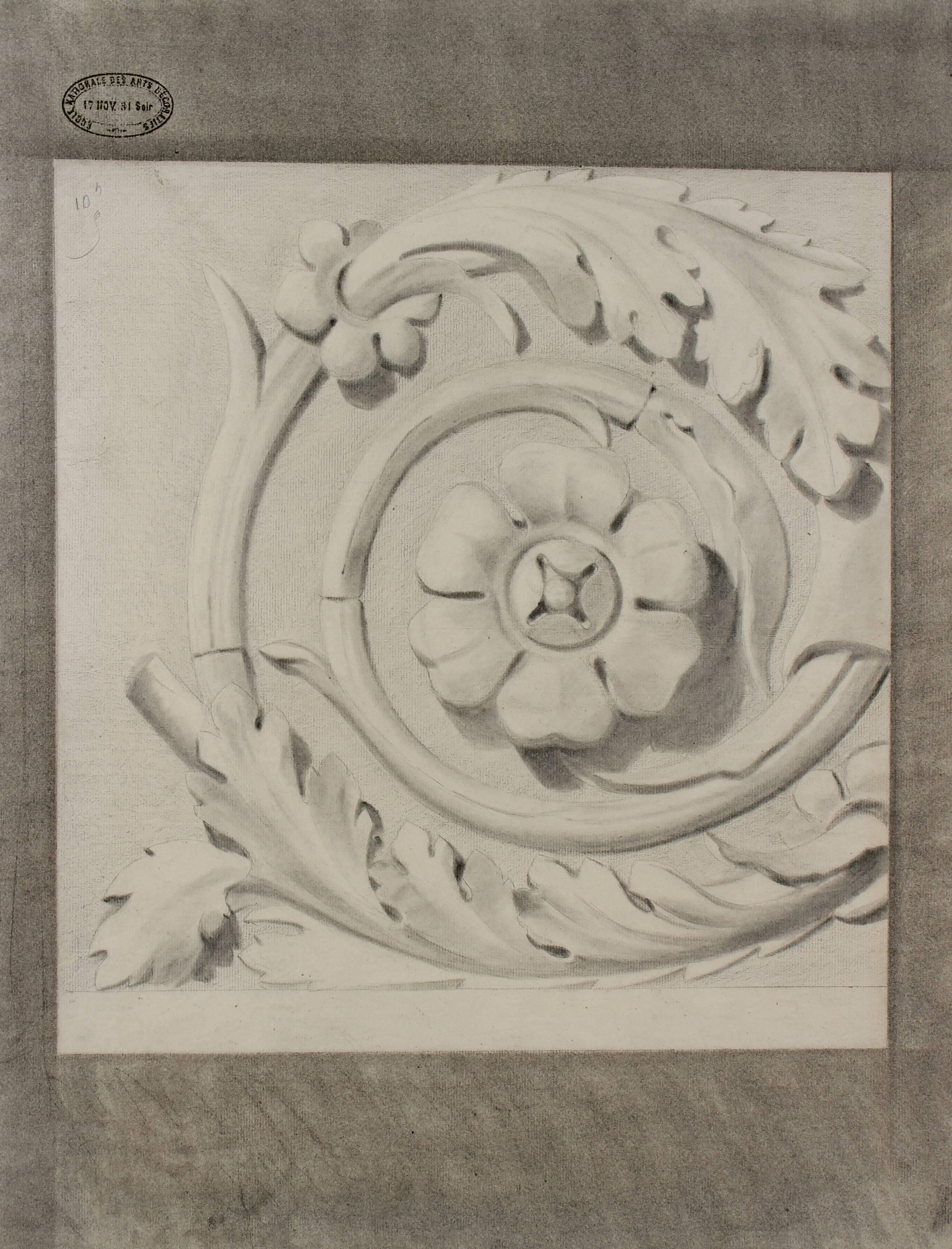 Motif Relief Bas Relief Motif Study In Charcoal 1881